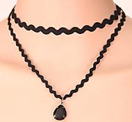European Style Retro Fashion Drop Baroque Double Lace Choker Necklaces