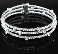 Fashion Crystal Three Layer Elastic Bracelet Bangle for Party Women