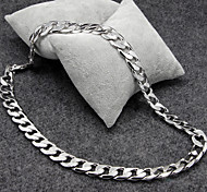 Silver Platinum Plated Titanium Steel Chain Necklace for Men