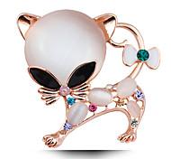 Super entzückendes Kätzchen opal vernickelt Brosche