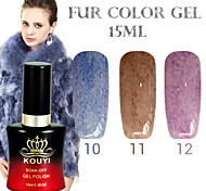 1PCS KOUYI Fur Color Gel 12Colors 15ml Long Lasting Nail Polish 10-12