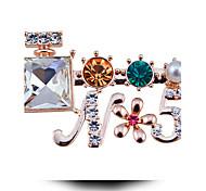 Perfume Bottle Five Diamond Pearl Brooch Flower Letters