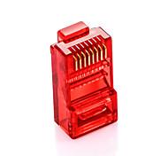 shengwei® rc-3100 100pcs de plug multicolor RJ45 plugue cat5e para interface de ligação à Internet (laranja vermelho verde azul)