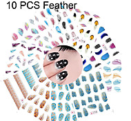 10PCS Feather Series Mixed Water Transfer Nail Printing Nail Stickers