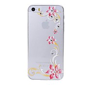 Latest  Six Flower Pattern Swarovski Diamond High Quality Laser Relief Touch Phone Case for iPhone 5 / 5S