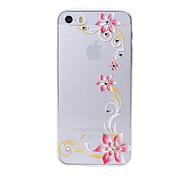 uiterlijk zes bloempatroon swarovski diamant van hoge kwaliteit laser reliëf touch telefoon case voor de iPhone 5 / 5s