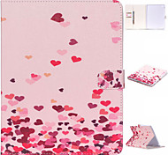Pink Hearts Pattern PU Leather Case with Stand and Card Holder for iPad Air