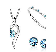 High Quality Full Shining Pendant Jewelry Set Necklace Earring (Assorted Color)