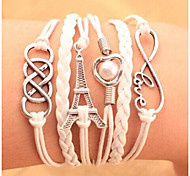Bracelets Leather Charm Bracelet Multilayer Wrap Bracelet Towel & Love Infinity Jewelry Candy Color for Men/Women