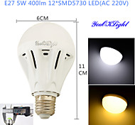 YouOKLight® 1PCS E27 5W 12*SMD5730 400LM White/ Warm White Light LED Energy saving High quality Globe Bulbs (AC 220V)
