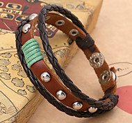 Triple Layer Round Stud Well-Knited Leather Wire Bracelets