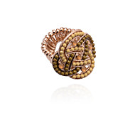 Fashion Studded With Drill Interweave Beads Alloy Ring