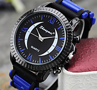 Men's European Style Double Color Silicone Rome Crescent Large Dial Watch Cool Watch Unique Watch