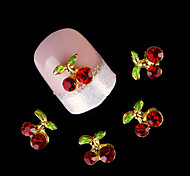 10Pcs/Set Nail Supplies Cherry Stones 3D Nail Art Decoration Crystal Rhinestone For Nail Alloy Glitters DIY