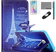 padrão de desenho torre estojo de couro de coco fun® pu com cabo usb v8, flim, caneta e stand para Samsung Galaxy S6 borda
