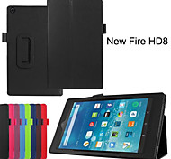 Folio Slim Fit Premium PU Leather Case Cover For Amazon New Fire HD 8 2015 Tablet (Assorted Colors)