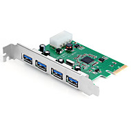 shengwei® pec-2034 PCI-E para 4 portas USB3.0 bordo uso etron188 chip para win98 / ME / XP / Server2003 / Vista / 7/8/10