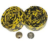Road Bike Fixed Gear Single Speed Handlebar Tape Bar Wrap Leopard(Yellow Black,2Pcs)