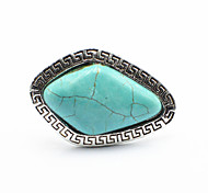 Vintage Look Antique Silver Plated Rhombus Turquoise Stone Adjustable Free Size Ring(1PC)