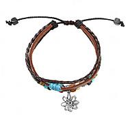 Z&X®  Fabric and Leather Bracelet Multilayer Vintage Bracelet with Flower