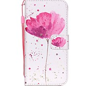 The New  Flowers  Pattern PU Leather Material Flip Card Cell Phone Case for iPhone 6 /6S