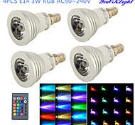 Focos LED Control Remoto / Decorativa YouOKLight G50 E14 3W 1 LED de Alta Potencia 260 LM RGB AC 100-240 V 4 piezas