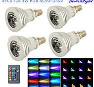 3W E14 LED Spot Lampen G50 1 High Power LED 260 lm RGB Ferngesteuert / Dekorativ AC 100-240 V 4 Stück