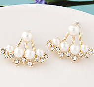 European Style Fashion Sweet Shiny Rhinestone Pearl Earrings