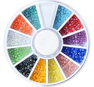 Mixed Size Glitter AB Acrylic Rhinestones Nail Art Decorations Pearl 12Colors