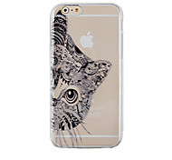 The Black Cat Pattern Transparent Phone Case Back Cover Case for iPhone 6s 6 Plus
