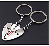 Korean Heart-shaped Key Lock Metal Couple Keychain Creative Personality Practical Business Gifts