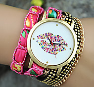 Ladies' European Style Fashion Color Lip Wrist Watch Bracelet Watch