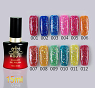 1PCS Sequins UV Color Gel Nail Polish No.1-24 Soak-off(15ml,Assorted Colors)