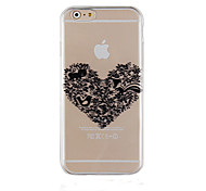 Black Love Pattern Transparent Phone Case Back Cover Case for iPhone6/6S