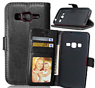 Для Кейс для  Samsung Galaxy Бумажник для карт / Кошелек / со стендом / Флип Кейс для Чехол Кейс для Один цвет Искусственная кожа Samsung