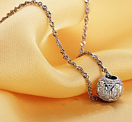 925 Fine Silver Lucky Ball Pendant Chain Necklace (Length:46cm)