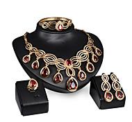 Women Wedding Jewelery Bridal Water-drop Ruby High-grade Wave-shaped Necklace Earrings Ring Bracelet Four Sets