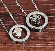 Forever Love Dice Zirconium Titanium Steel Drill Couple Necklace Gift