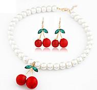 European Style Fashion Fresh Sweet Cherries Necklace Earrings Set