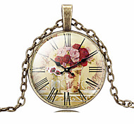HUALUO®Cheap Retro Time Gem Clock Pattern Necklace