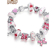 Style  Silver Crystal Charm Bracelet for Women Beads DIY Jewelry