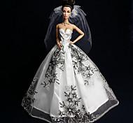 Barbie Doll - Abiti - Matrimonio - di Organza / Pizzo - Bianco / Nero - Abiti
