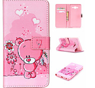 rosa Bär patten PU-Material Flip Halterung für Samsung-Galaxie j1 ace / j2 / on5 / ON7