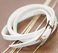 Fashionable Alloy Black White Genine Leather Wristband Belt Bracelet(1PC)
