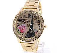 Woman's Watches Explosion Of The Eiffel Tower Pattern Rose Punk Watch