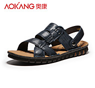 Aokang Men's Leather Sandals Blue