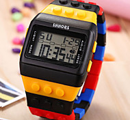 Unisex Digital LCD Colorful Block Brick Style Wristwatch