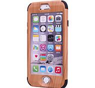 motifs de grain de bois de haute qualité logiciel enfichable sur pc + silicone hybride combo armure Housse pour iPhone 6 plus