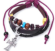 Men's Leather Weave Adjustable Bracelet with Cross Pendant
