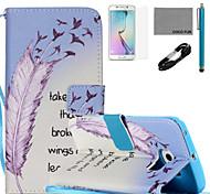 Coco fun® aprender a voar padrão de capa de couro pu com v8 usb cabo, flim, caneta e stand para Samsung Galaxy S6 borda